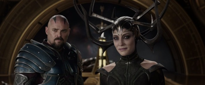 Thor Ragnarok - Cate Blanchett and Karl Urban as Hela and Skurge