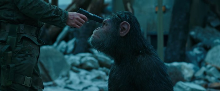 war for the planet of the apes ceasar and woody gun to the head
