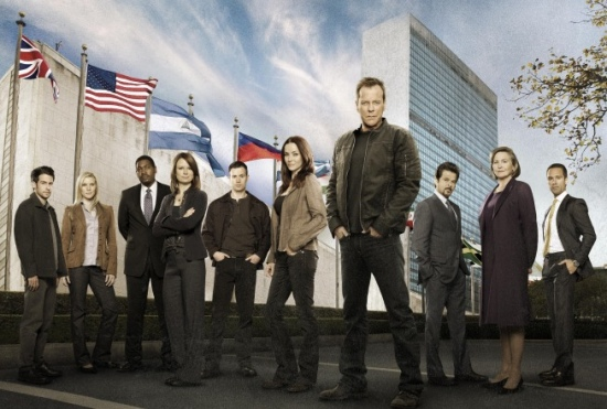 24 Cast L-R: John Boyd, Katee Sackhoff, Mykelti Williamson, Mary Lynn Rajskub, Freddie Prinze, Jr., Annie Wersching, Kiefer Sutherland, Anil Kapoor, Cherry Jones and Chris Diamantopoulos.