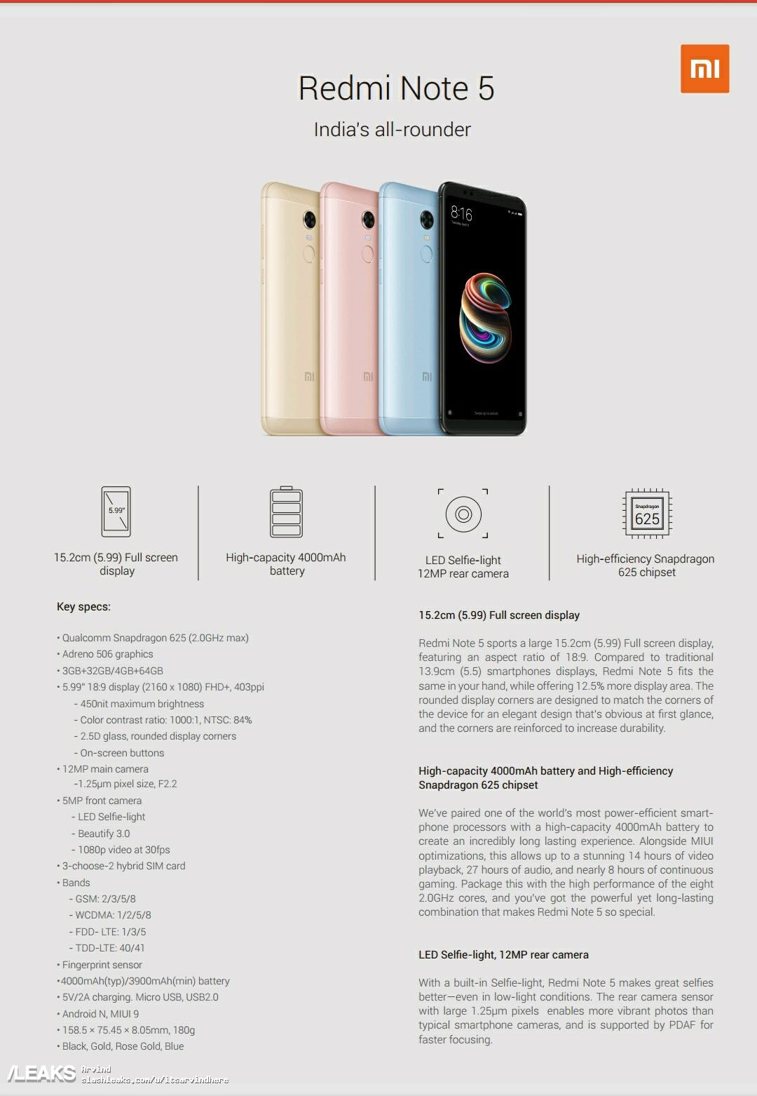 img Xiaomi Redmi Note 5 and Note 5 Pro FULL Specs Leaked!