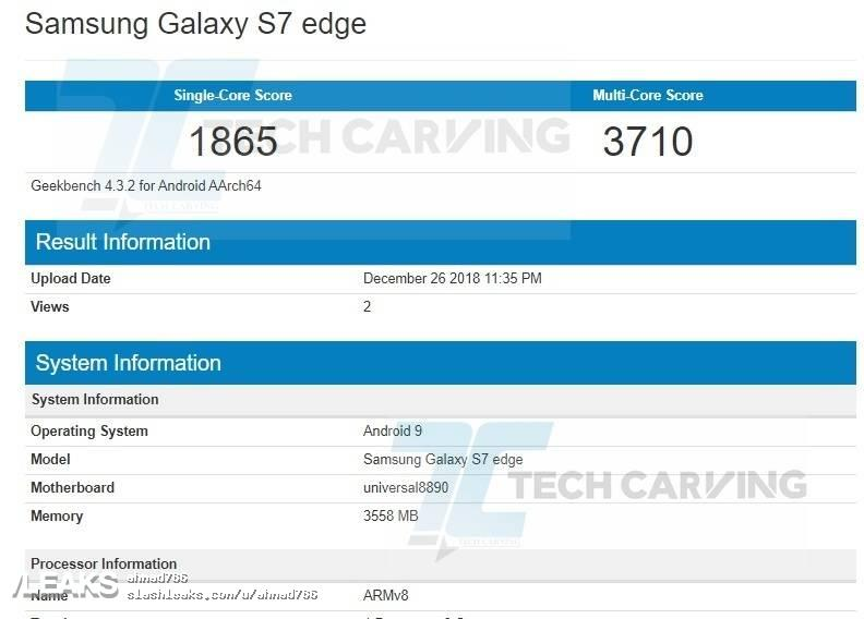 img Samsung Galaxy S7 margem a correr Android Torta Pops-Up no Geekbench