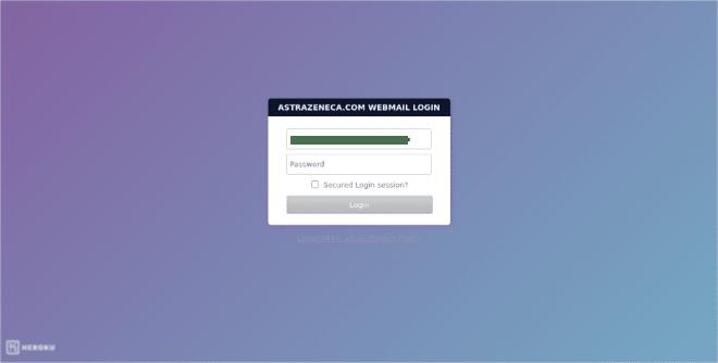 Astra Zenica Webmail Phishing Threat