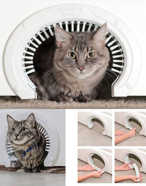 Purrfect Portal Cat Door with Grooming Brush - Slash Pets