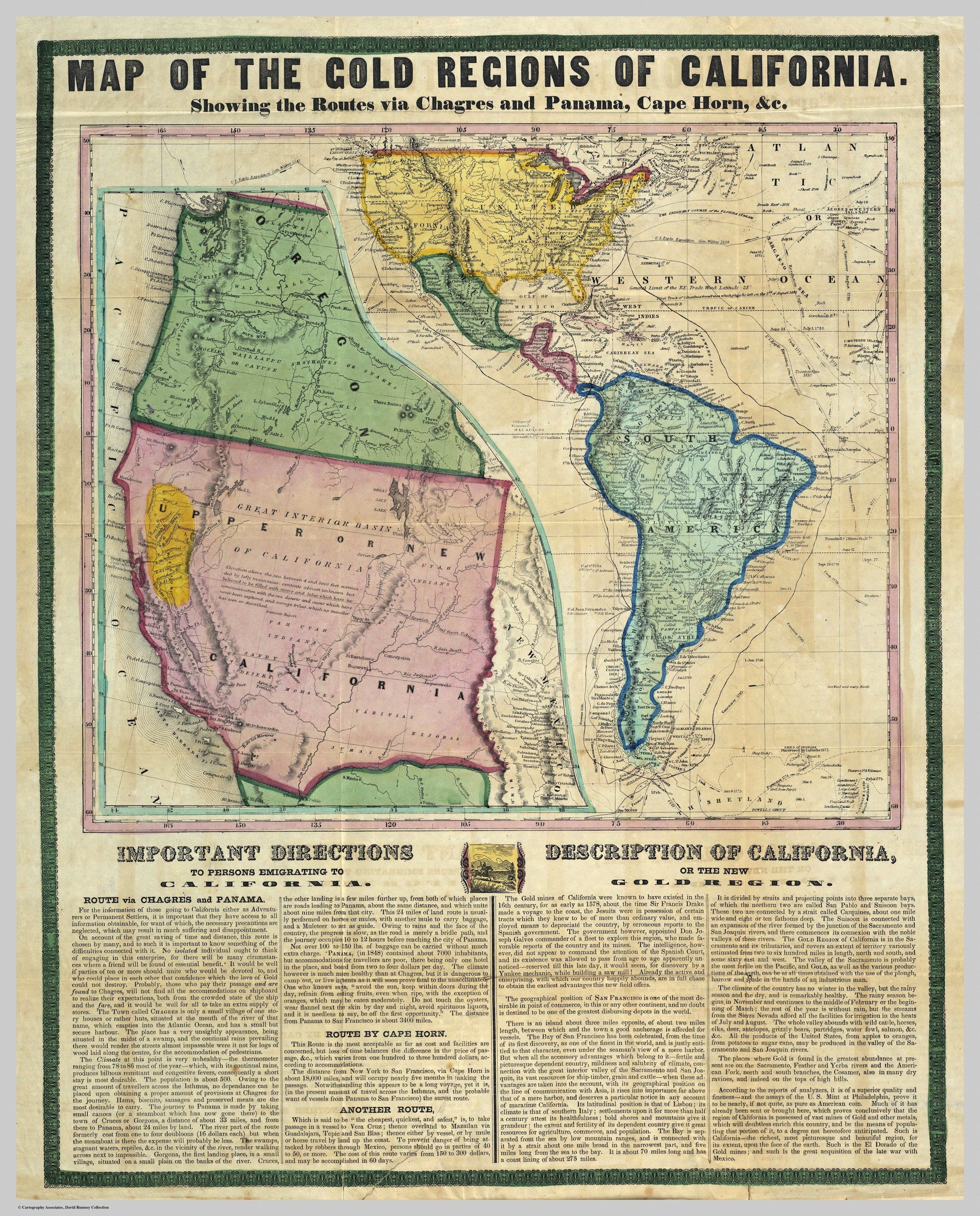 Gold Rush Map Guided Prospectors Headed To California