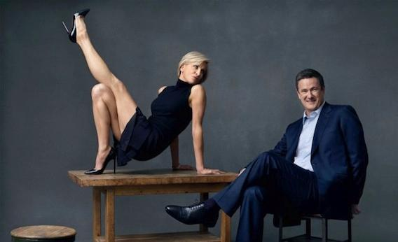 Image result for cartoon of joe scarborough and mika