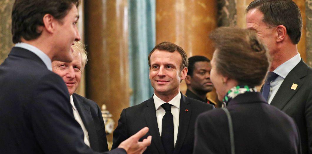 Justin Trudeau, Boris Johnson, Emmanuel Macron, la princesse Anne etJens Stoltenberg lors d'une réception à Buckingham Palace (Londres) à l'occasion des 70 ans de l'OTAN, le 3 décembre 2019. | Yui Mok / POOL / AFP