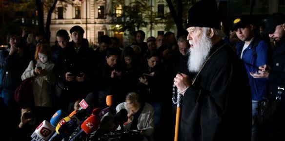 Le patriarche Philarète, de l'Église orthodoxe ukrainienne donne une conférence de presse à Kiev, le 11 octobre 2018. | Genya Savilov / AFP