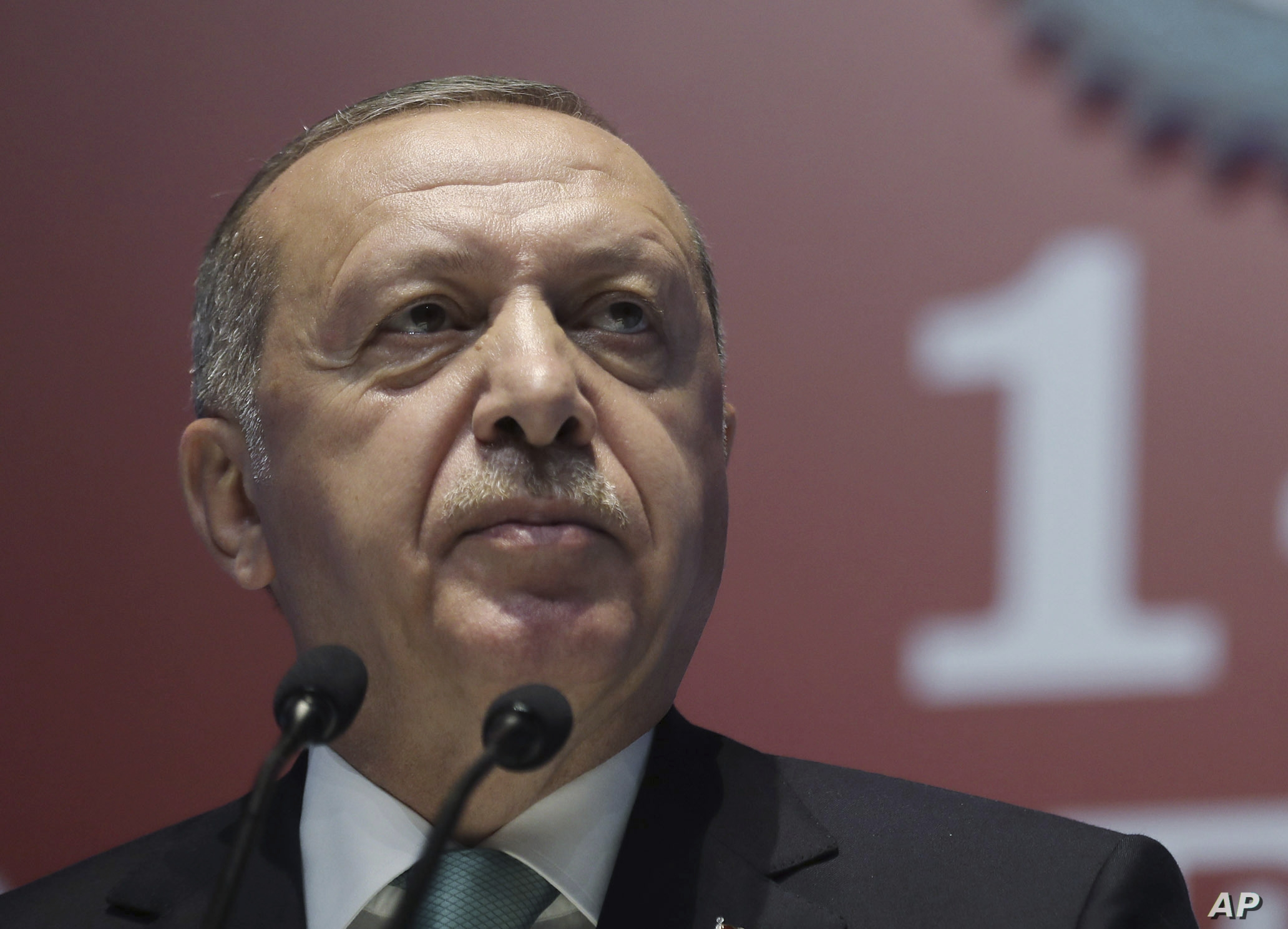 Turkey's President Recep Tayyip Erdogan speaks during a meeting of a pro-government trade-union, in Ankara, Turkey, Wednesday, July 10, 2019. Erdogan has confirmed that he fired the Central Bank chief over his refusal to cut interest rates. Erdogan…