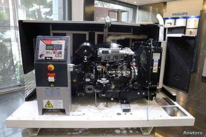 A diesel-run generator is on display at Mikano head office in Lagos, Nigeria, Sept. 9, 2019.