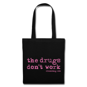 The Drugs Don't Work Tasche schwarz Gitzer pink
