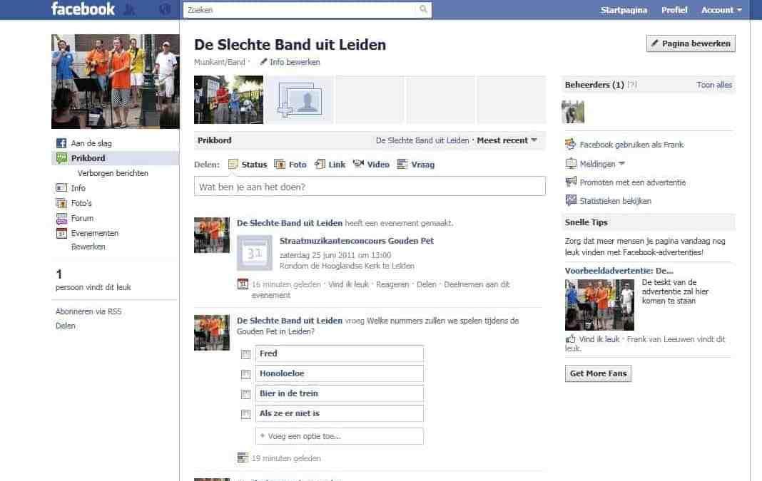 De Slechte Band nu ook op facebook!