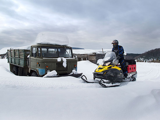 Snowmobile Russia ghost town