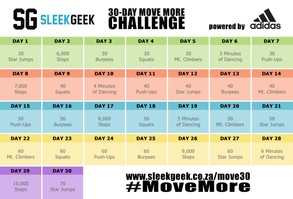 Sleekgeek 30 Day Move More Challenge