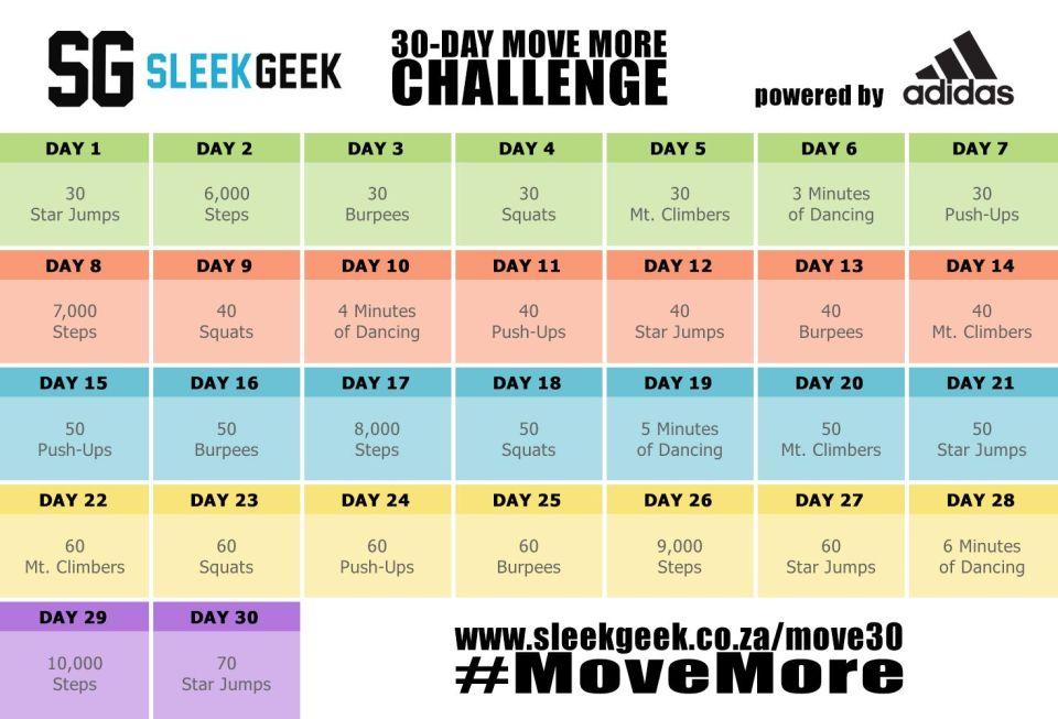 Sleekgeek 30 Day Move More Challenge
