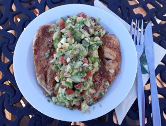 Butterflied Chicken Breast with Avocado, Tomato, and Corn Salad