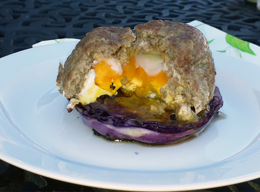 Recipe – Mince and Egg Mound Served on a Baked Cabbage Slice