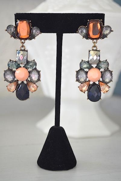 Multicolored Peach Earrings, Multicolored Earrings, Peach Earrings