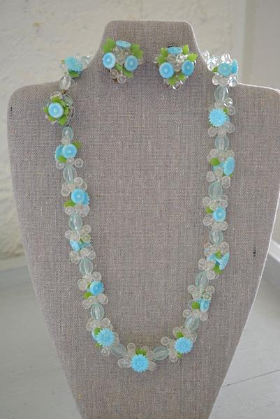 Blue Flowers Necklace Set, Demi-Parure, Vintage Jewelry, Flower Jewelry