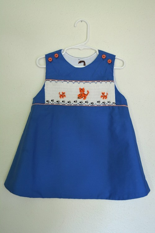 Smocked Tigers Dress, Blue and Orange, Smocked Dress, Smocking, Tigers