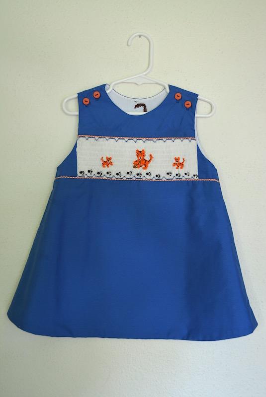Smocked Tigers Dress, Blue and Orange, Smocked Dress, Smocking, Tigers