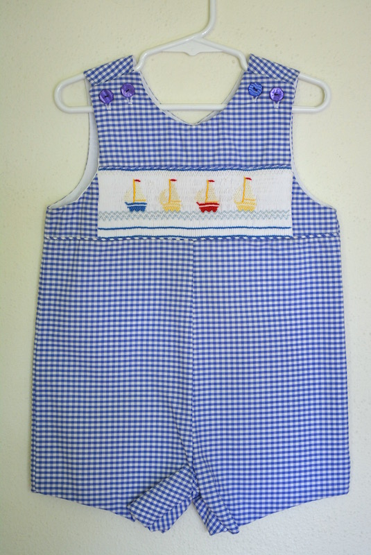 Sailboats Romper, Boy's Clothes, Smocking, Smocked Romper, Summer Clothes, Nautical, Gingham Clothes