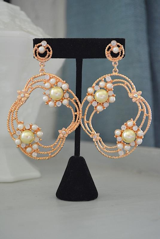 Bright Gold Earrings, Statement Jewelry, Statement Earrings