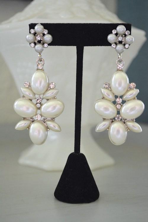 Pearlized White Earrings, Pearl Earrings, White Earrings