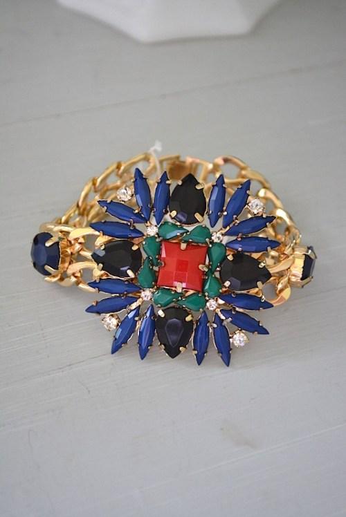 Navy and Red Bracelet, Medallion Bracelet, Statement Jewelry, British Colors