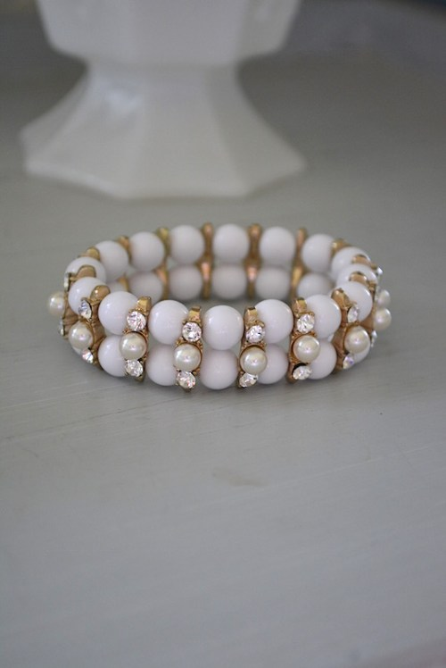 White Bracelet, White Jewelry, White Stretch Bracelet