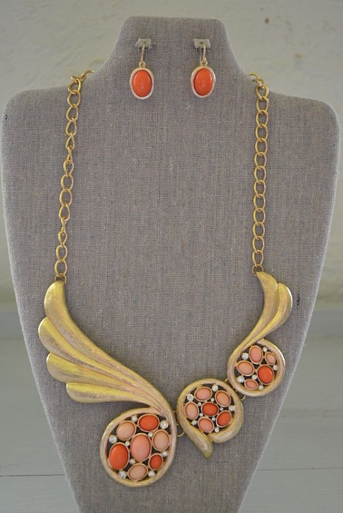 Peach Necklace Set, Necklace and Earrings, Orange Jewelry, Peach and Gold Jewelry
