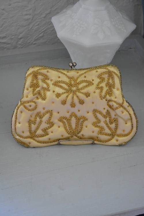 Richere Gold Purse, Vintage Purse, Gold Purse, Beaded Purse, Richere
