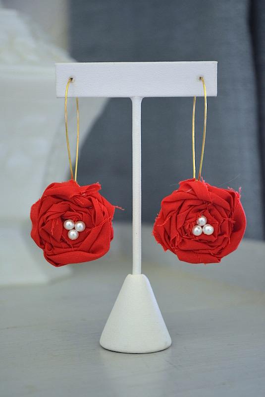 Red Flower Earrings, Flower Earrings, Red and White Jewelry, Fabric Flowers, Fabric Flower Jewelry