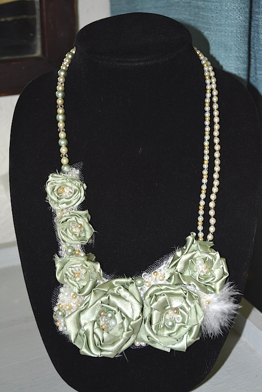 Green Fabric Flower Necklace, Sage Necklace, Flower Necklace, Handmade Necklace