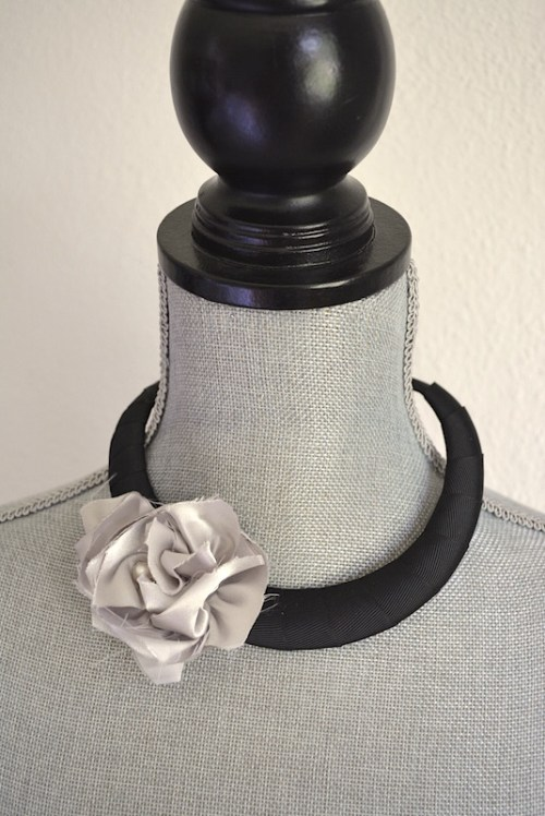 Taupe Flower Choker, Choker Necklace, Fabric Flower Choker