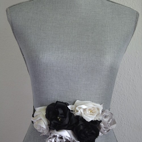 Neutrals Flower Belt, Fabric Flower Belt, Black and White Belt, Satin Belt