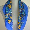 Yellow Print Scarf, Vintage Scarf, Yellow and Blue Scarf