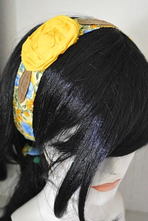 Yellow Flower Headband, Headband, Fabric Flower Headband