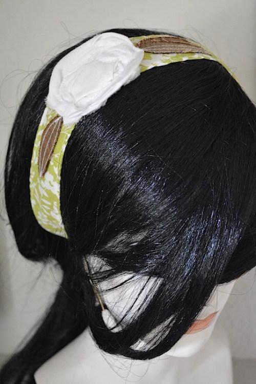 White and Lime Headband, White Flower Headband