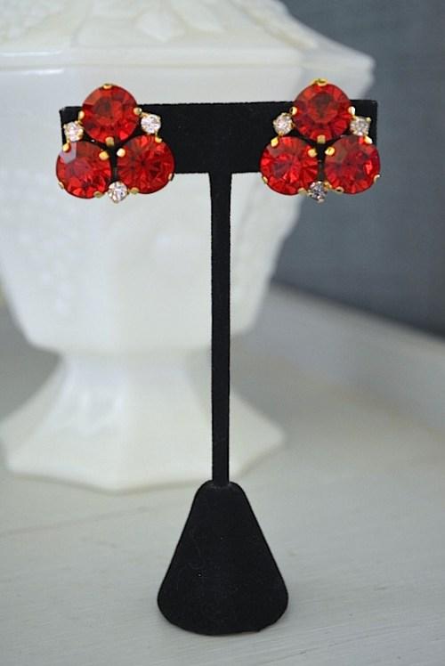 Ruby Red Earrings, Vintage Jewelry, Vintage Earrings