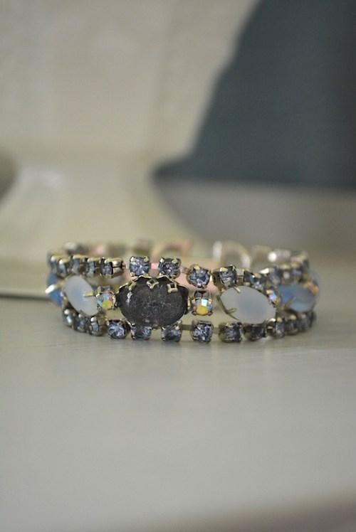Blue Stone Bracelet, Aquamarine Bracelet, Vintage Bracelet, vintage jewelry