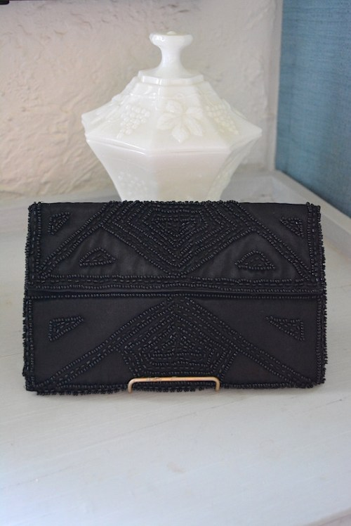 Black Satin Purse, Beaded Purse, Vintage Purse, Clutch, Vintage Clutch