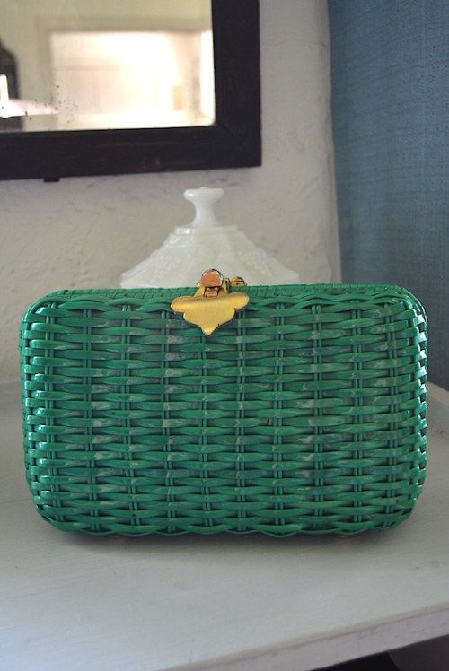 Green Wicker Purse, Key West Fashion, The Hamptons Fashion, Wicker Purse, Vintage Purse, Vintage Clutch