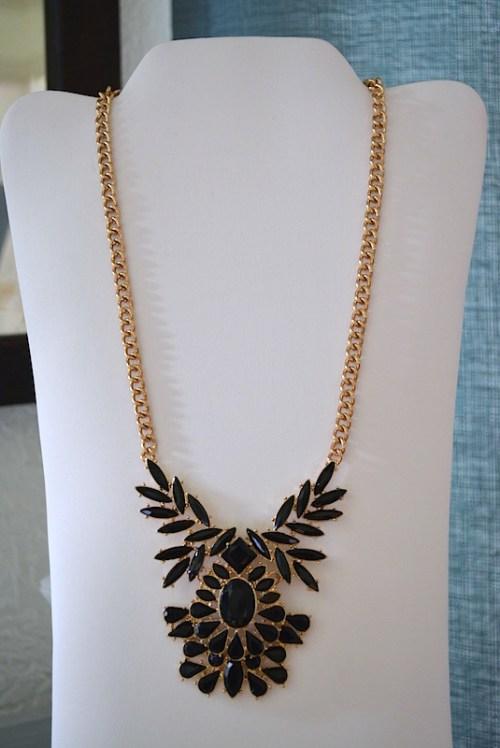 Black Teardrop Pendant Necklace, Black Necklace, Black Jewelry, Pendant Necklace