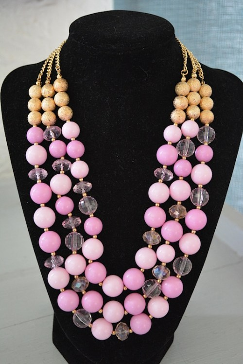 Pink Beaded Necklace, Pink Necklace, Pink Jewelry