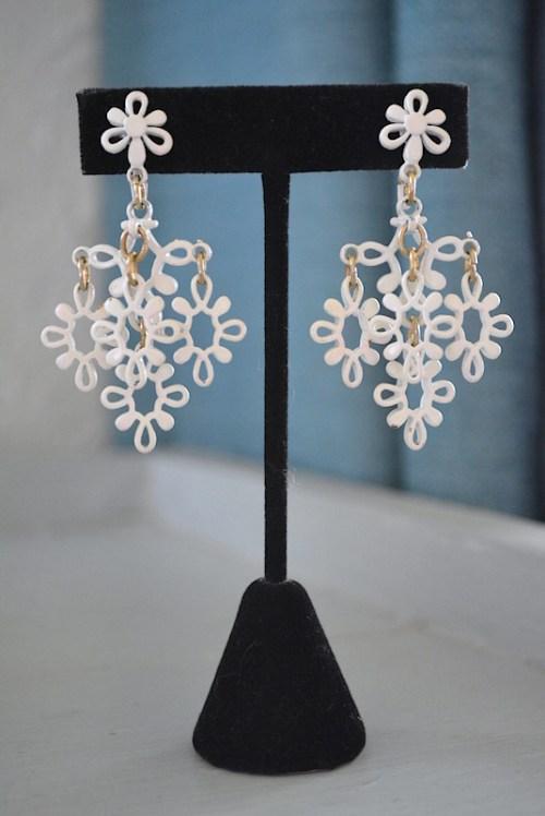 Trifari White Earrings, VIntage Earrings, Trifari, Signed Vintage Jewelry, Signed Costume Jewelry, White Earrings