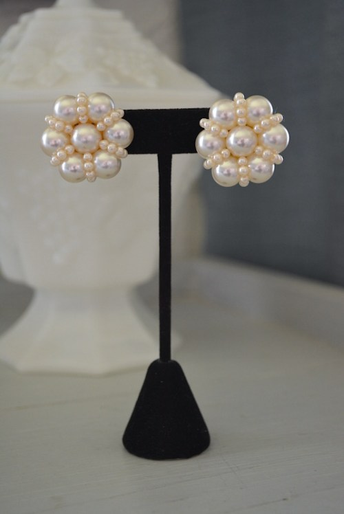 Ivory Pearl Earrings, Pearl Earrings, Pearls, Jackie O