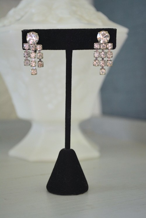 Rhinestone Fringe Earrings, Vintage Earrings, vintage jewelry, Bride, Prom, Vintage Rhinestones, Rhinestones