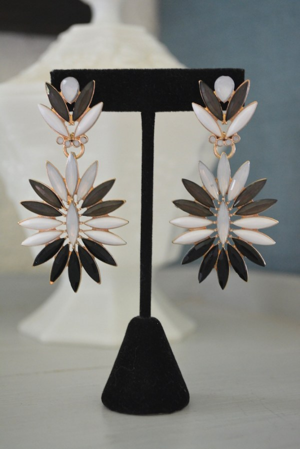 Black Marquise Earrings, Black and White Earrings, Jekyll and Hyde, black and white jewelry, Black and White