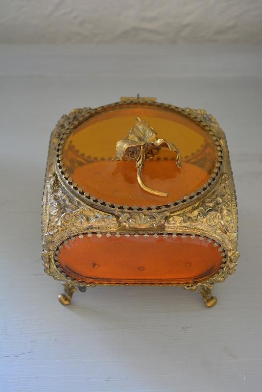Amber Jewelry Box, Antique Jewelry Casket, Jewelry Box, Antique Jewelry Box, Vintage Jewelry Box, Gilt-Bronze Jewelry Box, Gilt-Bronze, Iris