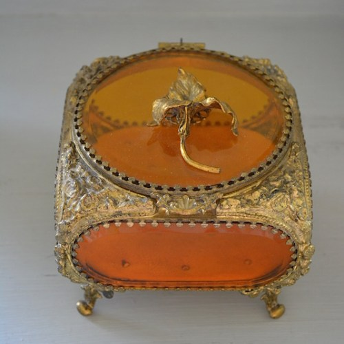 Amber Jewelry Box, Antique Jewelry Casket, Jewelry Box, Antique Jewelry Box, Vintage Jewelry Box, Gilt-Bronze Jewelry Box, Gilt-Bronze, Iris